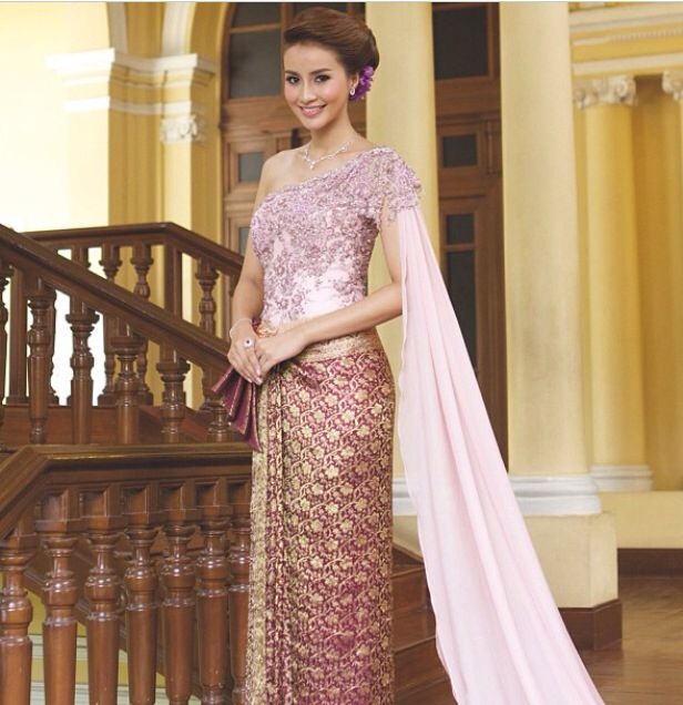 Pink & Gold Traditional Thai Wedding Dress Asian Theme