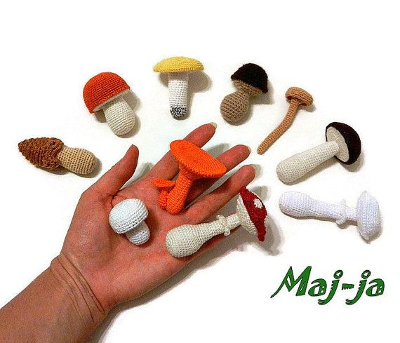 Crochet mushrooms  development baby gaming  set  by MajjaCrochet#Crochet #mushrooms  #development #baby #gaming #set  #toy #basket with #play #food #kitchen #decoration #eco #toys #doll