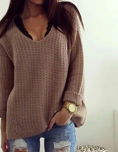 Chunky knit and lace