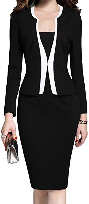 9fdb2a32120 MUSHARE Women s Colorblock Wear to Work Business Party Bodycon One-Piece  Dress (Large