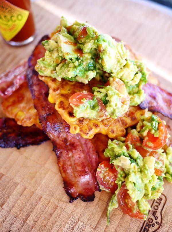 The Londoner » Sweetcorn Fritters, Crispy Bacon & Guacamole
