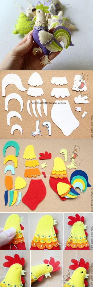 Sew cute rooster of felt - Fair Masters - handmade, handmade
