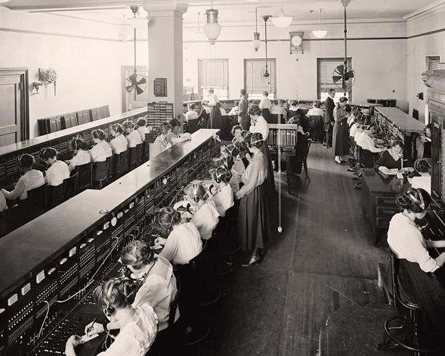 Photograph of Telephone Switchboard Operators. It was made between 1905 and…
