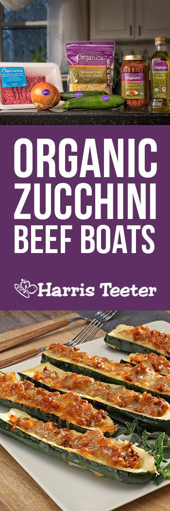 This easy recipe is good for you too! Eat less carbs with these organic zucchini beef boats.