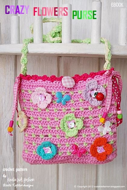 Crazy Flowers Purse. I would just attach the buttons and make the flowers separate so the girls could put what flowers they wanted where they wanted