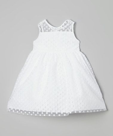 Another great find on #zulily! White Polka Dot Overlay Illusion Dress - Toddler & Girls #zulilyfinds