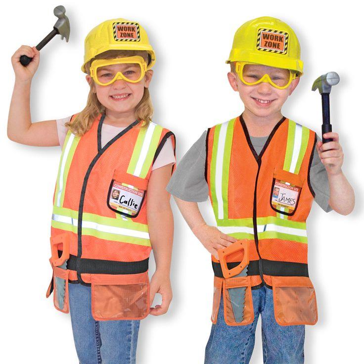 Construction Worker Costume Pretend Play Set