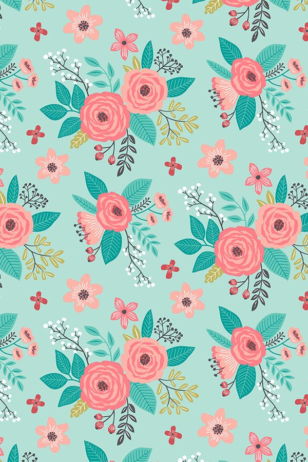 vibrant design modern floral wallpaper. Vintage Antique Floral Flowers on Mint by caja design  Hand illustrated flower fabric 201 best Designs Bouquets and Leaves Indie