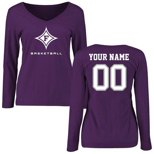 Furman Paladins Women's Personalized Basketball Slim Fit Long Sleeve T-Shirt - Purple - $42.99