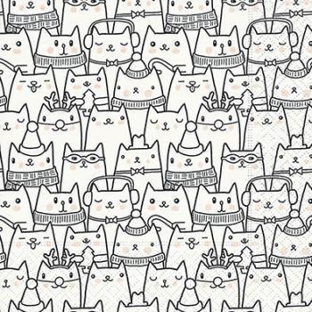 ★★メール便発送OK!★★【ペーパーナプキン40枚までメール便可】パーティー・プチギフト・デコパージュ・カルトナージュに最適!1パック/20枚入りもあります!。Paper+Design 可愛い ペーパーナプキン デコパージュ お子様・子供におすすめ☆クリスマス いっぱいの猫 雪☆(Snow cats)(1枚/バラ売り)
