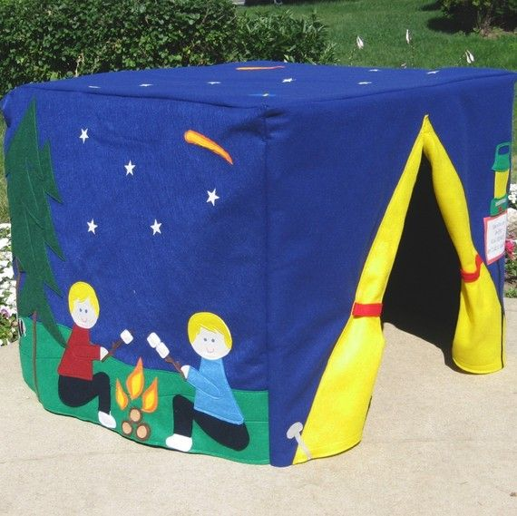 Delight your little campers with this Campsite Camping Card Table Playhouse! This listing is for a playhouse that fits over your own card table. It will be made to fit the measurments of your card table exactly. Please use the drop down menu to choose your table size when you check