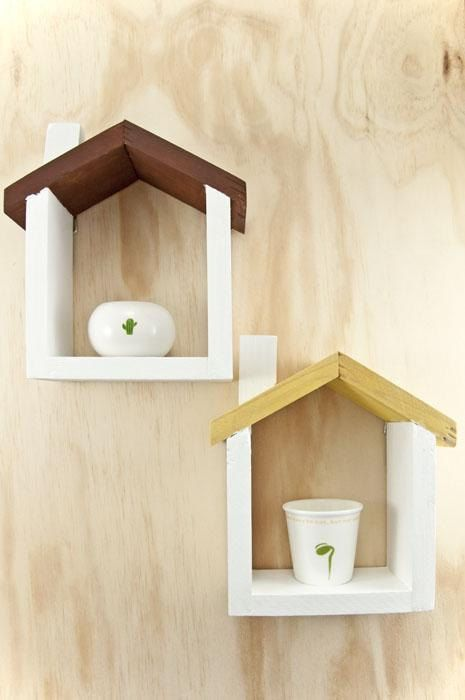 Handmade Wooden House Floating Shelf Small By