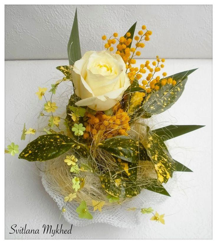 EXEMPLE!!! PAS à VENDRE!!!! Composition Florale (fleurs vivante) Création unique. : Accessoires de maison par perles-et-couronnes