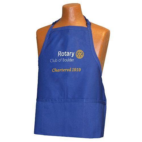Russell-Hampton Co. Rotary Club Supplies: Custom Masterbrand Signature Logo Royal Blue 3-Pocket Apron with 2-Color Imprint