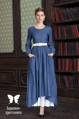 Длинное джинсовое платье с большими карманами Девушка с характером - магазин православного платья Барышня-крестьянка