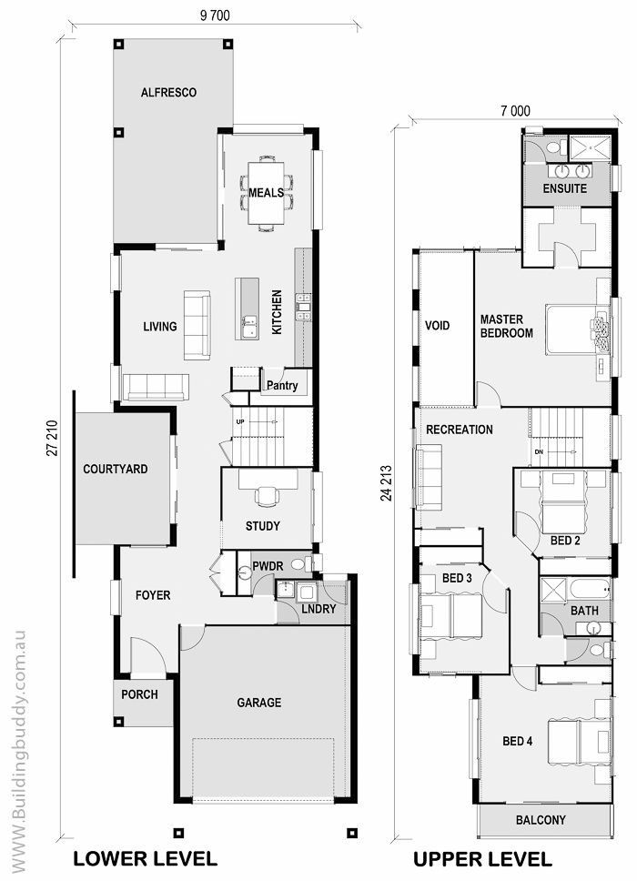 Foxtail - Small Lot House Floorplan by http://www.buildingbuddy.com.au/home-designs-main/small-lot-house-plans/