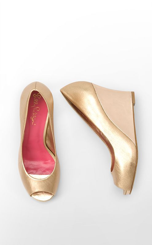 Cute wedges would make it easy to walk on the grass! (Lilly Resort Chic Wedge Saffiano in Gold Metallic.)
