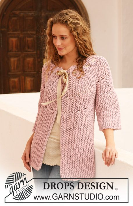 """DROPS jacket knitted from side to side in garter st in """"Ice"""". Size S - XXXL. ~ DROPS Design"""