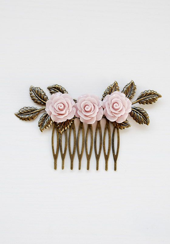 Dusty Pink Rose hair Comb Dusky Pink Flower Leaf Branch by LeChaim