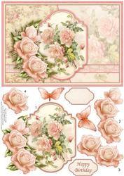 Vintage Rozen van de perzik Kaart Topper & Decoupage