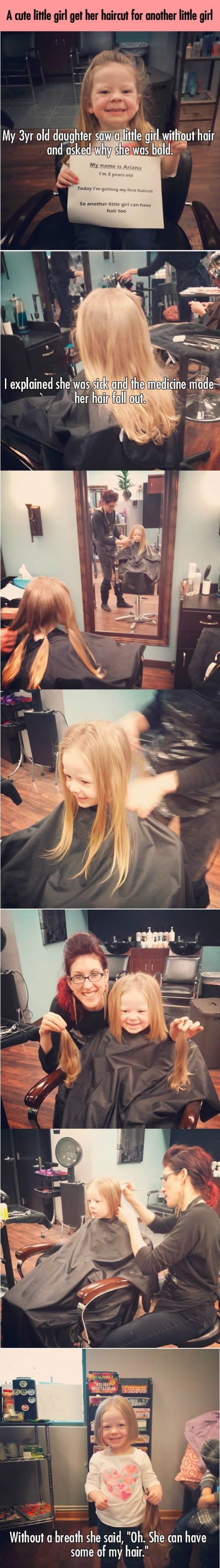 3 Year Old Girl Cuts Her hair To Give To A Kid With Cancer kids people amazing cancer story children interesting facts stories heart warming good people