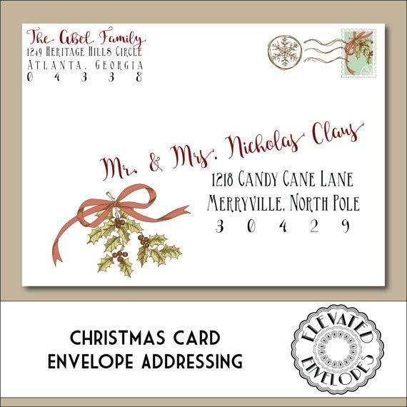 CHRISTMAS ENVELOPE ADDRESSING, Printable Christmas Envelopes, Christmas, Holly, Recipient Addressing, Envelope Addressing, Calligraphy