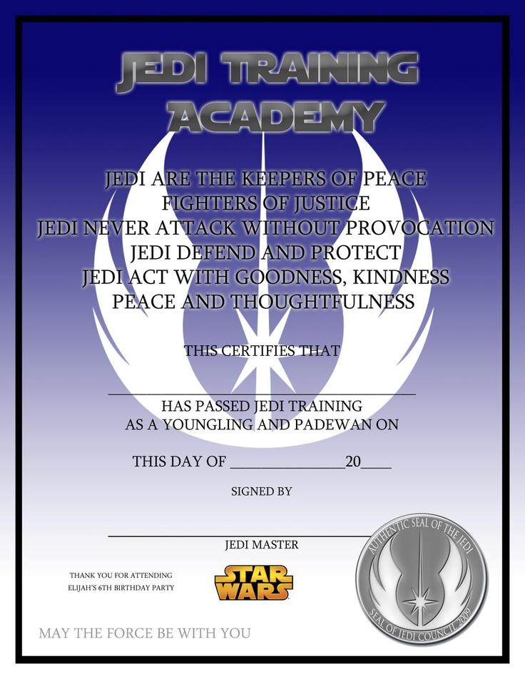 Jedi Training Academy certificate