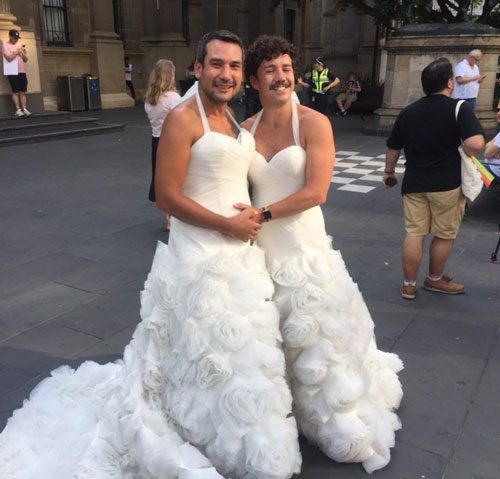 Image result for gey couple wedding dress