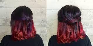 Mechas rojas en las puntas cabello corto