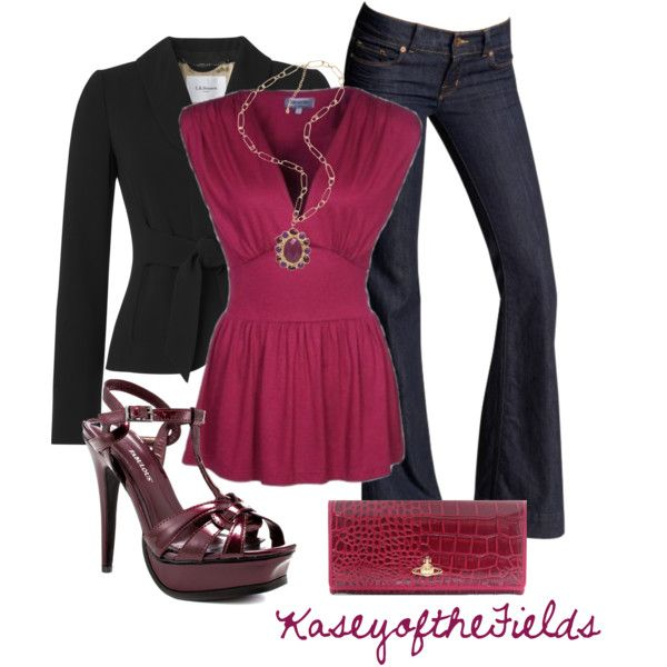 Love this top & Jacket!  Since it is cold out now I would go with a different shoe.  :-)