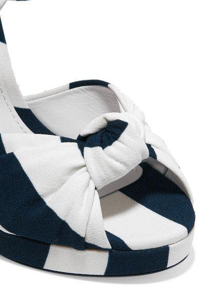 Dolce & Gabbana - Embellished Striped Canvas Sandals - Navy - IT37