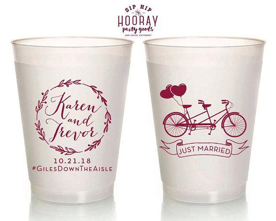 Tandem Bike Wedding Cups Just Married Frosted Cups Wreath Monogram Plastic Cups Custom Cups Wedding Monogram Reception Cups 1839 by SipHipHooray
