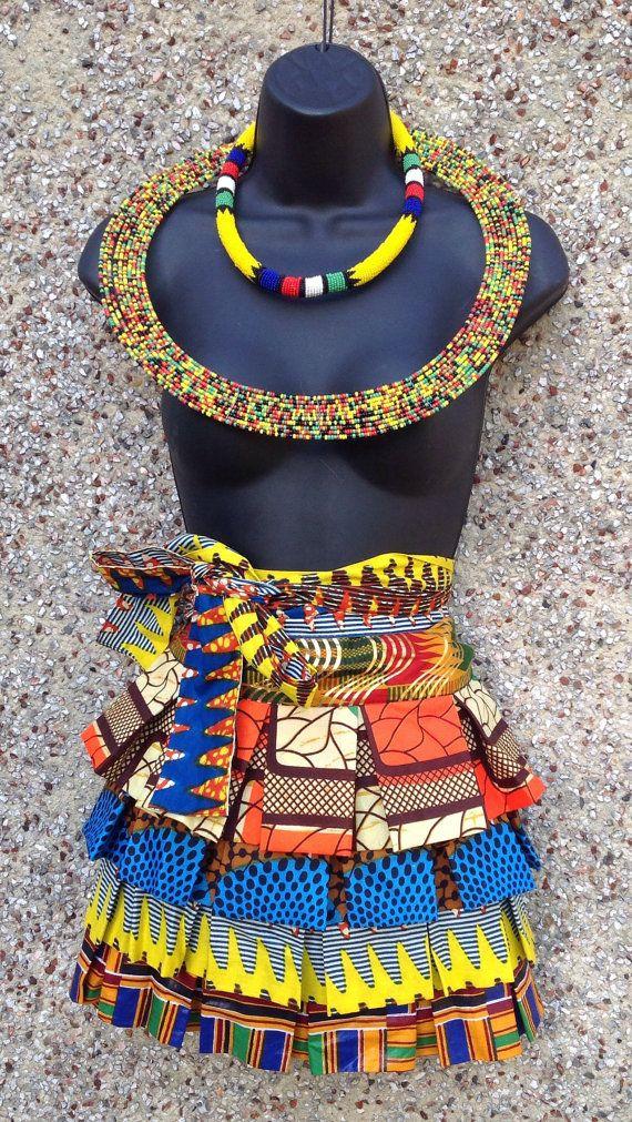 African real Wax cotton print fabric wrap skirt by YORUBATIK