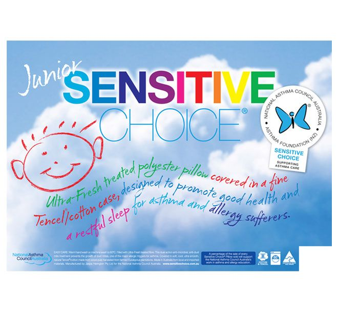Ultra-Fresh Polyester SENSITIVE CHOICE  A percentage of the sale of every Sensitive Choice Pillow sold, will support the National Asthma Council Australia's work in asthma and allergy education.   Features: A luxurious pillow for asthma and allergy sufferers  Ultra-Fresh treated polyester fill A soft, cool, fine, ultra smooth and natural Tencel and cotton case, made from wood pulp harvested from farmed Eucalyptus plantations Anti-microbial and anti-dust mite treatment prevents the growth of…
