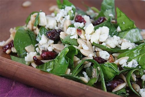 Spinach and Orzo Salad with Cranberries and Almonds. I usually add chicken to make it a meal.  Sooooooo good! -mcd