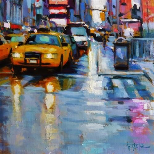 Best Art Cityscapes Images On Pinterest Cityscapes Urban - Astonishing photorealistic paintings of places seen through wet car windshields