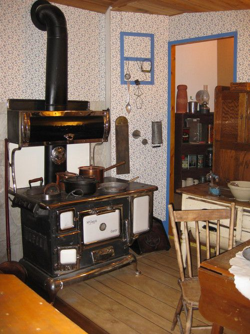 Old Farmhouse Kitchen With Wood Cook Stove