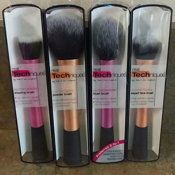 Real Techniques Makeup Brushes Set of 4 Real Techniques Makeup Brushes. * New Never Used * Sold as a Set. Base Brush/ Blush Brush / Stippling Brush / Powder Brush. Real Techniques  Makeup Brushes & Tools