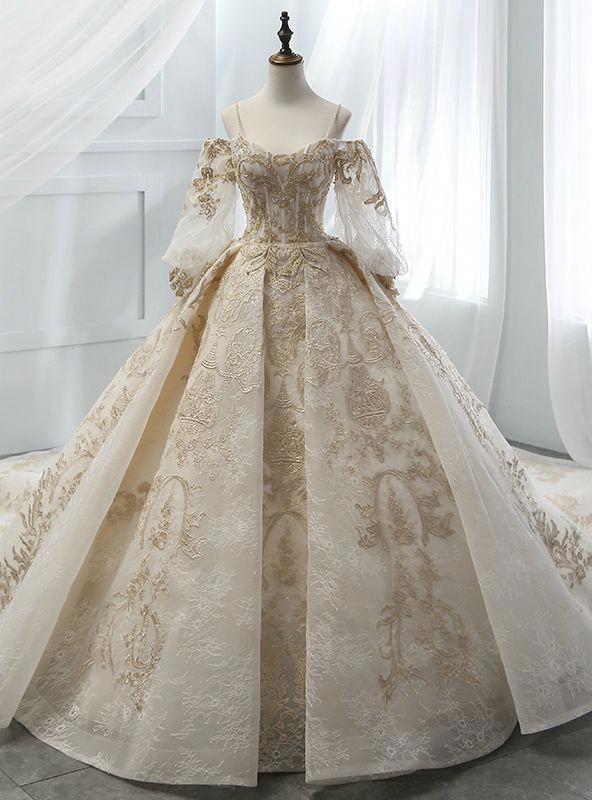 Ball Gown Champagne Tulle Gold Lace Appliques Ruff Sleeve Wedding Dress   elegantweddingdresslace 12fc11cc8e8c