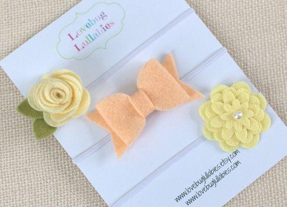 Peach Ivory Yellow Felt Flower Bow Headband or Hair Clips Set of 3; Baby Newborn Toddler Child Bow; Baby Shower Gift; Newborn Photo Prop