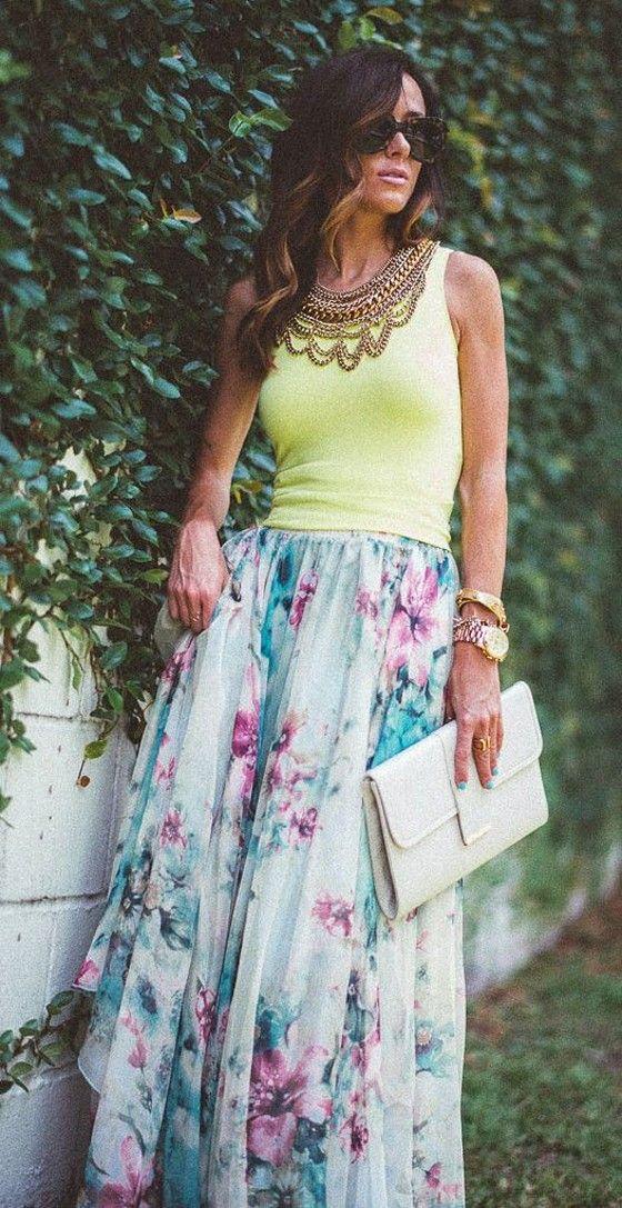 Blue Floral Sashes Bohemian Maxi Skirt