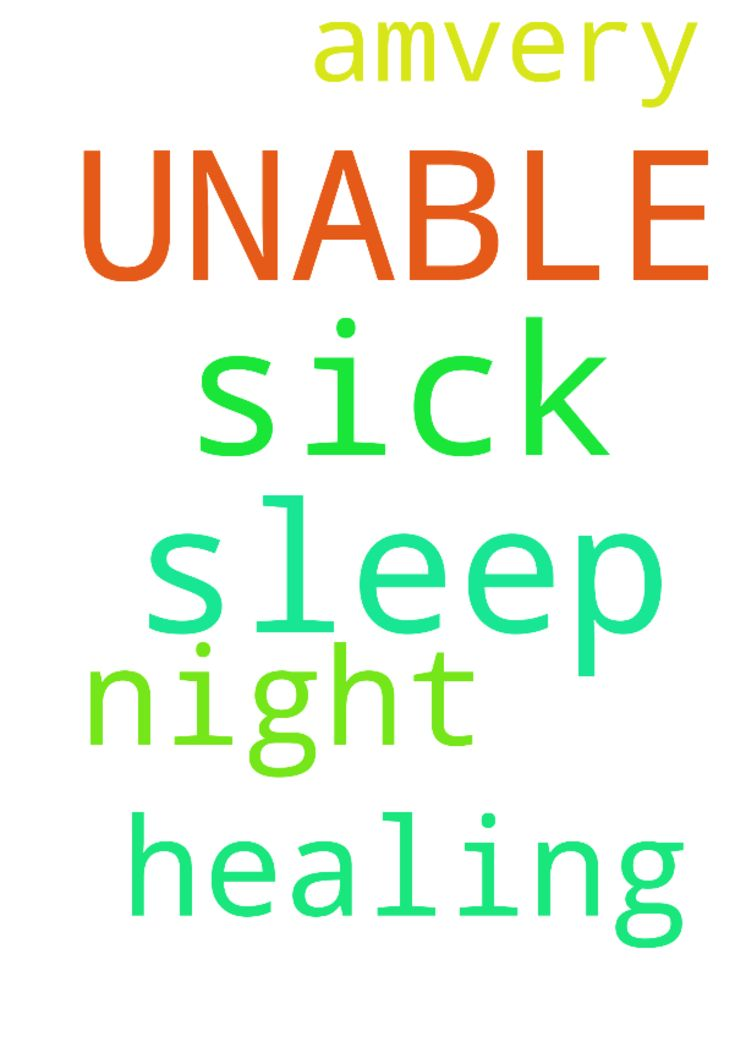 SICK & UNABLE TO SLEEP -  I amvery sick again and unable to sleep at night. Please pray for my healing, in Jesus Name. Amen.  Posted at: https://prayerrequest.com/t/pDf #pray #prayer #request #prayerrequest