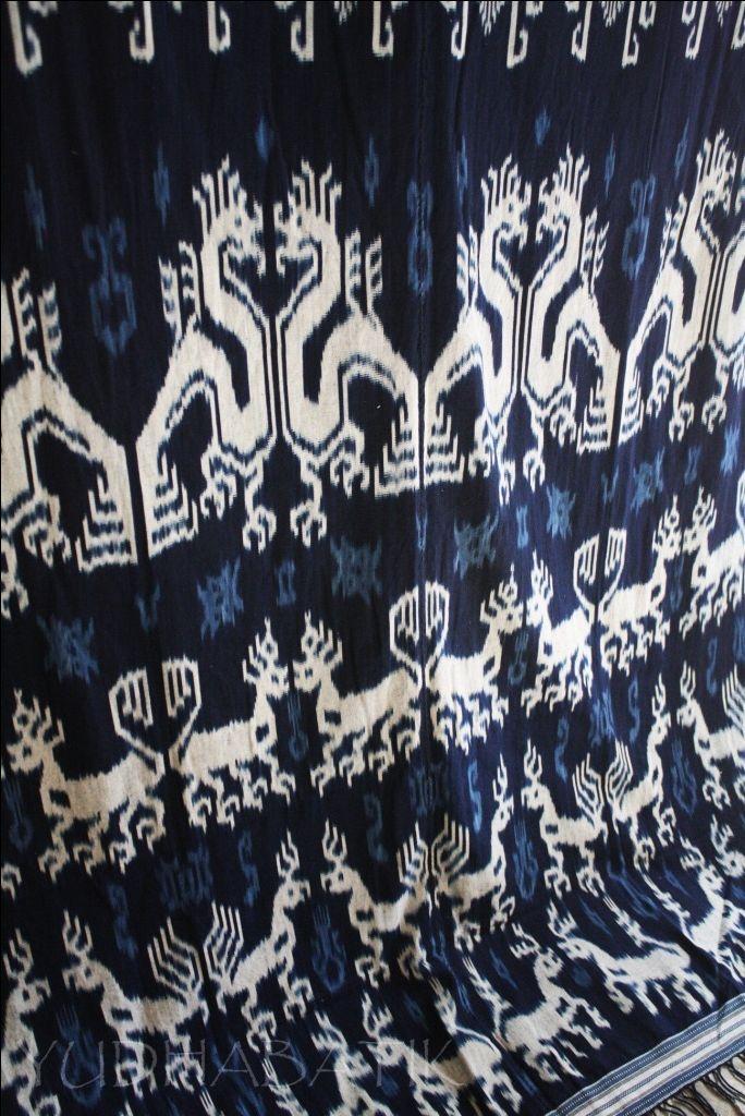 "Hinggi kaworu of Kanatang..hinggi kaworu, named after the use of ""daun wora"" or Indigofera leaves, to produce blue color dyeing agent..Kanatang itself, well known as the best indigo ikat producer region in Sumba..all done in natural indigo dyes, from Kanatang - East Sumba"