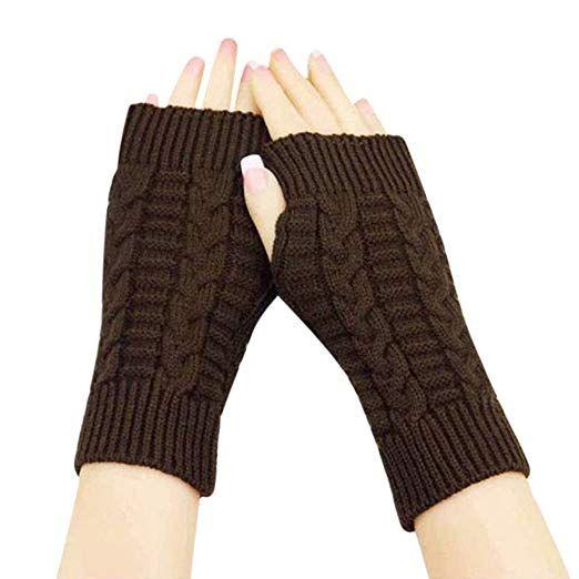 Unisex Damen Frauen gestrickte Fingerlose Handschuhe Winter warme Fäustling DE