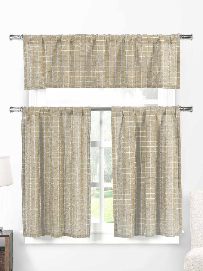 Home Maison Nicola Check Tiers Kitchen Curtain Set (3 PC)
