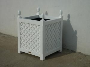"""24"""" Lattice Garden Planter in White. Product in photo is from www.wellappointedhouse.com"""