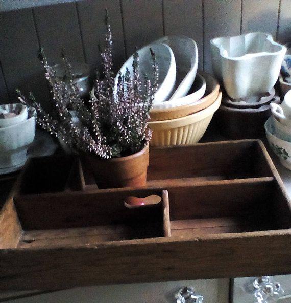 Antique wooden cutlery tray trug storage box  rustic
