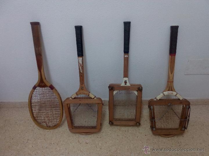 Gran lote antigua raqueta tenis madera Alert Slazenger Spalding Dunlop Maxply tensores colección - Foto 1
