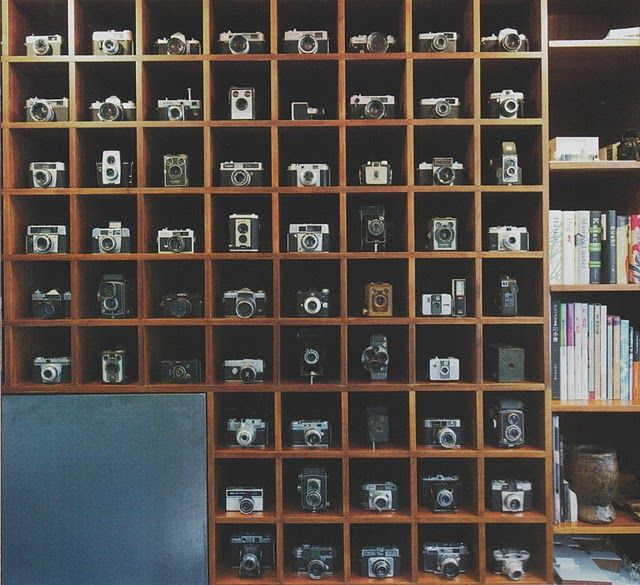 There's way too much awesome happening right here. Perfect camera display shelves. #vintage #camera #display