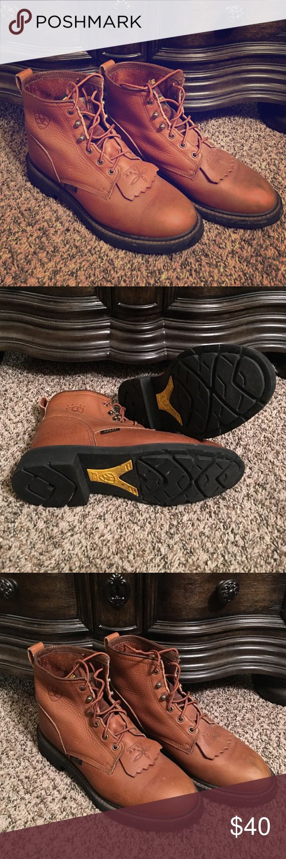 Women's Ariat Work Boots Size 9.5 Great pair of Ariat lace up boots, Size 9.5.  I wore these boots gently only a couple times.  They are super sturdy and in very good condition.  Note slight scuffing on toe of left shoe (pictured). Ariat Shoes Lace Up Boots